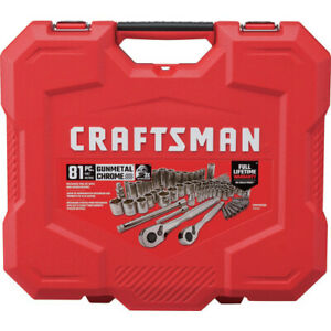 Craftsman 81 Pc Gunmetal Chrome Sae Metric Mechanics Tool Set New