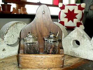 Antique Primitive Wood Wall Box Rack Holder Divided W Shaker Salt Mustard Spoon