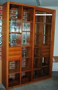 2 Sided Display Partition Room Divider with Drawers And Sliding Glass Custom