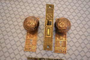 Antique Vintage Solid Brass Door Knobs Lockset And Face Plates 29 Reduced