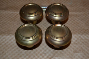 2 Sets Of Brass Knobs And Rossetes Vintage Antique A10