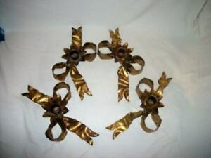 Italian Tole Gilt Bow Candle Holder Pair Regency Mid Century 2 Pairs Available
