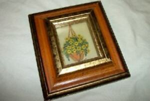 Mid Century Miniature Stereograph Layered Glass Flower Basket Painting Cottage