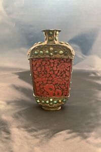Antique Chinese Cinnabar Snuff Bottle Turquoise Beads Lion Faces