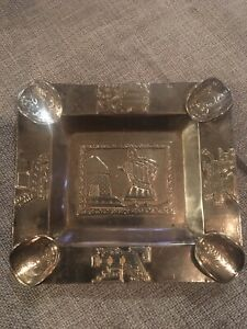 Vintage 900 Silver Ashtray Bolivia With 4 Coins And Gods