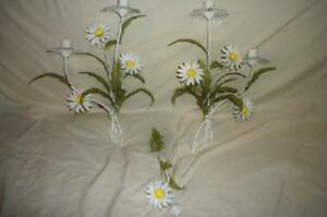 Italian Tole Daisy Candle Wall Sconce Pr Candle Snuffer Chic Shabby Cottage 3pc