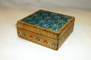 Italian Florentine Gilt Wood Carved Shell Box Starburst Paper Top Mid Century