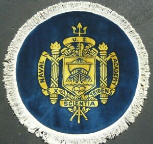 Beautiful Vintage Us Naval Academy Wool Rug 4 8 Feet In Diameter Navy