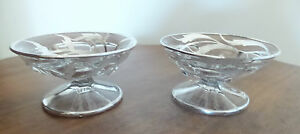 Two Antique Master Crystal Salt Cellars With Sterling Overlay On Pedestal