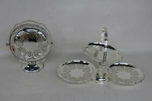2x Queen Anne Silver Plated Foldable Vintage Cake Stands With Patterns Ornate