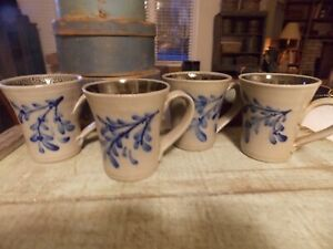 Rfw Blue And Grey Pottery Stoneware Mugs For The Primitive Crockery Seeker