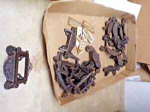 14 Old Matching Apothecary Drug Store Window Lable 2 Pc Cast Iron Drawer Pulls