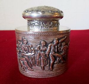 Antique English Silver On Copper Repousse Tea Caddy Lidded Box Hallmark