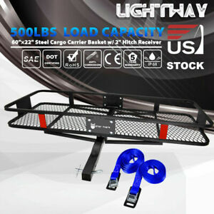 Capacity 500lbs Steel Cargo Carrier Basket Rack W 2 Straps 2 Hitch Receiver