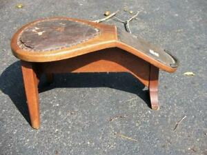 Antique Country Shoe Store Stool Oak With Leather Very Nice Look