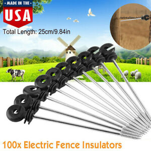 100pcs Screw In Electric Fence Insulators Wooden Posts Poly Wire Cord Connector