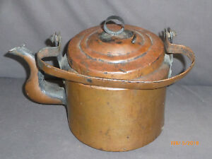 Antique Early Dovetailed Copper Tea Pot Coffee Kettle W Swing Handle