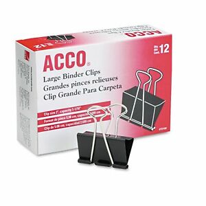 Acco Large Binder Clips c2 72100b wh08