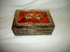 Stacked Book Filigree Roses Celluloid Jewelry Box Japan Music Casket Mid Century