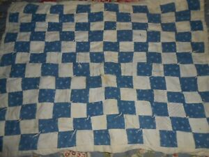 Blue And White Calico Doll Quilt Very Early 1900