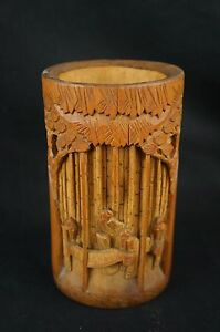 Excellent Rare Chinese Antique Carved Bamboo Brush Pot 6 Y9 W7 A9