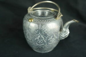 Excellent Antique Chinese Pewter Tea Pot 4 1 2 Tall Y8 W6 A9