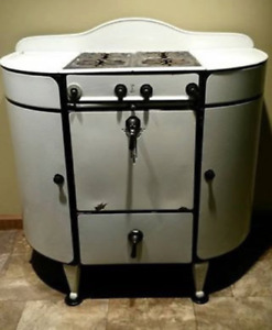 Rare Vintage Antique Moores White Black Curved Gas Stove Range