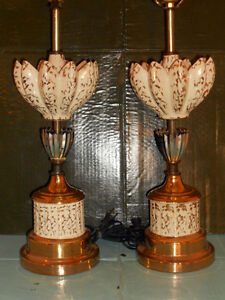 Vintage Pair Miller Era Mid Century Danish Table Lamps No Shades