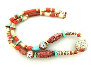 Antique Chinese Jade Coral Carnelian Necklace 22 Inch