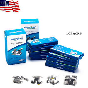 Easyinsmile 10packs Orthodontic Brackets Dental Roth mbt 018 022 Metal Braces
