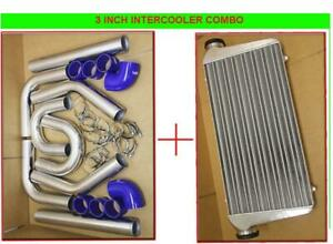 Universal Chrome Intercooler Piping Kit W 3 Pipings blue Couplers intercooler