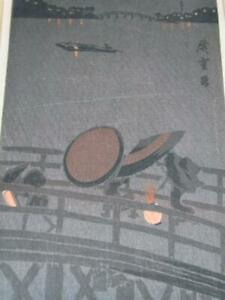 Antique Pencil Signed Hiroshige Japanese Woodblock Print Bridge With Lanterns