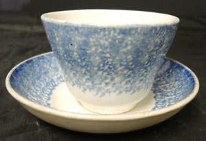 Antique Blue Staffordshire Spatterware Cup Saucer