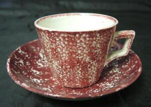 Antique Staffordshire Red Spatterware Cup Saucer