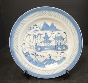 1850 To 1890 Chinese Blue White Canton 9 3 8 Plate