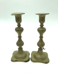 Vintage Brass Candlestick Pair Candle Holder Push Victorian Gold Arts Crafts Set