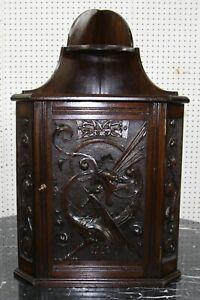 Antique American Victorian Carved Walnut Dragon Corner Cabinet Cupboard C 1870