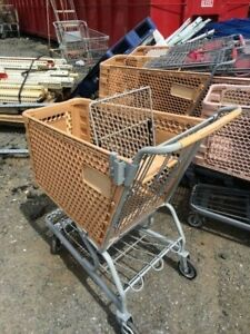 Plastic Shopping Carts Tan Small Medium Basket Used Store Fixtures Buggies
