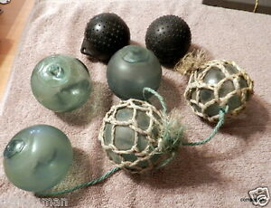 Lot Of 5 Vintage Japanese Glass Balls Fishing Floats Bonus 3 Inch