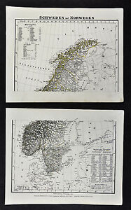 1847 Flemming Maps X 2 North South Sweden Norway Stockholm Oslo Christiansand