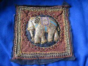 Hand Beaded Sequin Elephant Asian Tapestry Square 5