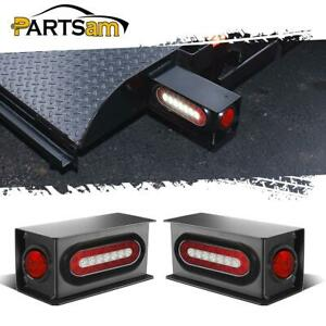 6 Oval Red white Led Stop Turn Tail Steel 2 Red Led Side Light Box Kit Trailer