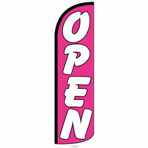 Open Swooper Flag And Pole Set Windless Banner Sign 3 Wide Pink White