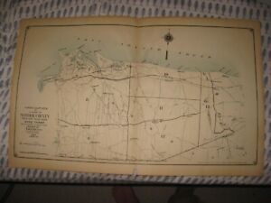 Antique Suffolk County New York Map Setauket Farmingdale Port Jefferson Coram Nr