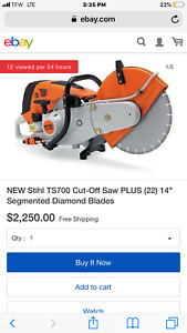 Stihl Ts700 Ts 700 Cutquik Heavy Duty Gas Powered Concrete Cut off Saw Machine