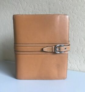 Franklin Covey Classic Camel Tan Leather Planner Binder Organizer Open 1 75
