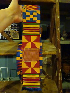 Antique Africa Kente Woven Textile Sash Belt