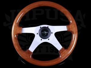 Personal Legno 320mm Wood Steering Wheel With Satin Silver Spokes