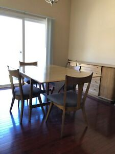 Mid Century Heywood Wakefield Butterfly Drop Leaf Dining Table Set With 6 Chairs