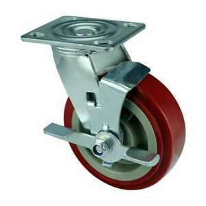 8 Inch Caster Wheel 661 Pounds Side Brake Polyurethane Top Plate